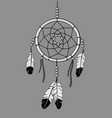 dream catcher outline and greyscale vector image