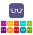 eyeglasses icons set vector image vector image