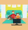 father and his daughter playing video games vector image