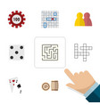 flat icon games set of labyrinth guess ace and vector image