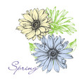 floral background in spring colors flowers vector image vector image