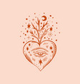 hippie floral heart moonchild freedom and love art vector image vector image
