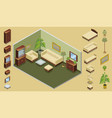 isometric hotel room creation concept vector image