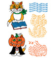 learned cat and pumpkin vector image vector image
