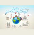 lets go traveling world travel color vector image