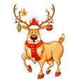 merry christmas cartoon reindeer vector image