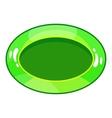 Oval green button icon cartoon style vector image vector image