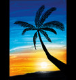 palm on the sunset vector image vector image