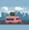 pink food truck vector image vector image