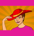 pretty girl in pink dress and red hat pop art vector image
