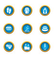 relaxing bath icons set flat style vector image
