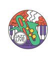 round emblem for jazz live concert music festival vector image