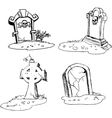 Scary tombstones in Halloween night vector image
