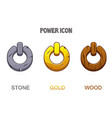 set buttons or icons power golden stone vector image