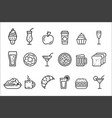 set linear food and drink icons tasty vector image vector image