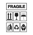 set of black package handling labels vector image