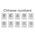 Set of monochrome icons with chinese numbers vector image