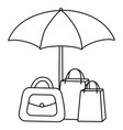 shopping bag purse and umbrella icon vector image