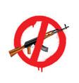sign no weapon kalashnikov assault rifle vector image
