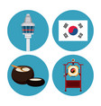 south korea round icons vector image vector image