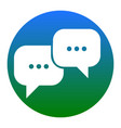 speech bubbles sign white icon in bluish vector image