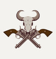 two old crossed revolvers and skull of bull vector image vector image