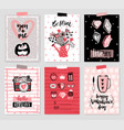 valentines day card set - hand drawn style vector image