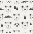seamless pattern with bear heads vector image