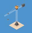 industrial construction crane isometric crane vector image