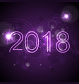 2018 glowing neon ultra violet new year background vector image