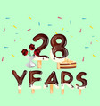 28 years anniversary celebration birthday card vector image vector image