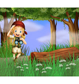 A girl with a telescope inside the forest vector image vector image