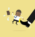 african businessman being kicked by boss vector image vector image
