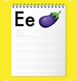 alphabet tracing worksheet with letter e and e vector image vector image