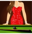 beautiful woman leaning on a pool table vector image vector image