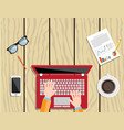 businessman using a laptop vector image vector image