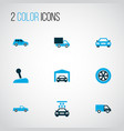 car icons colored set with truck transport vector image vector image