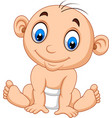 cartoon baby boy sitting vector image