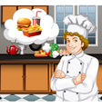Chef working in the kitchen vector image