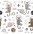 childish seamless pattern with cute leopards in vector image vector image