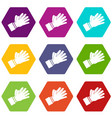 clapping applauding hands icon set color vector image vector image