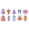 clothes icon set cartoon style vector image vector image