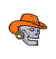 cowboy pirate skull mono line art vector image vector image