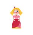 cute queen in red dress vector image vector image