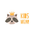 face or head adorable raccoon in crown muzzle vector image