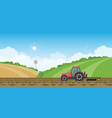 farmer driving a tractor in farmed land on rural vector image vector image