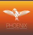 flaming phoenix bird with wide spread wings in vector image
