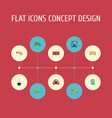 flat icons automotive automobile truck and other vector image vector image