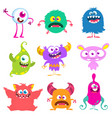 funny cartoon creatures set cartoon monsters vector image vector image
