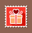 gift box sign stamp present heart love symbol vector image